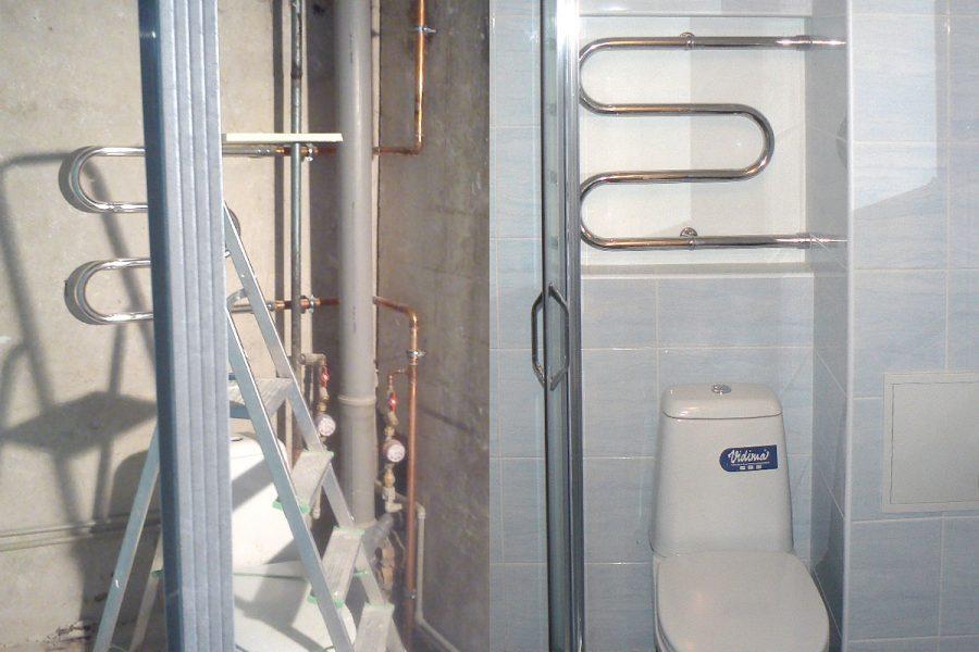 Remonta darbi, Dzīvoklis Čiekurkalnā, vannas istabas remonts, pods, duškabīne, flīzes, dvieļu žāvētājs, flīzēšana