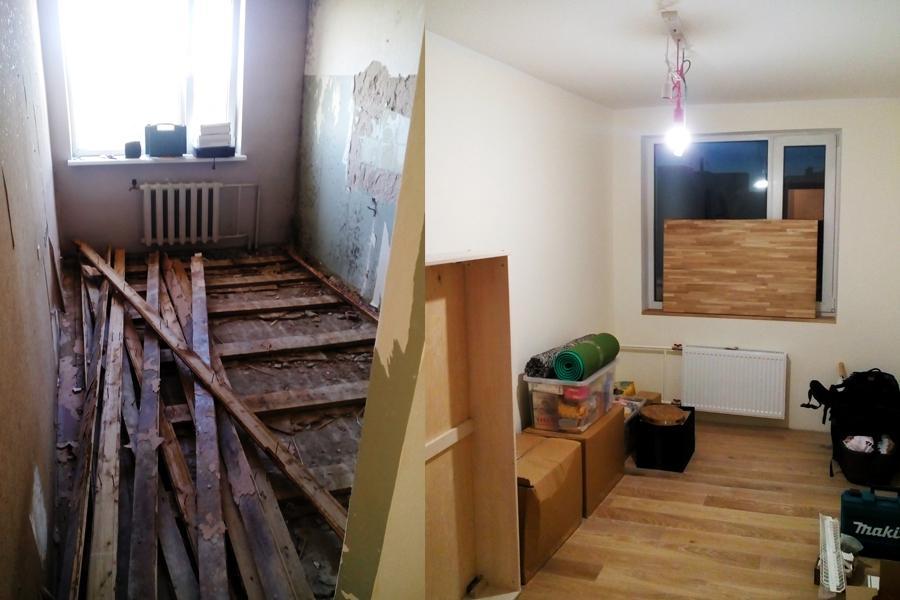 Grīdas seguma maiņa, grīdas demontāža. Būvgružu izvešana. Sienu špaktelēšana, krāsošana, slīpēšana, gruntēšana. Celtniecības darbi