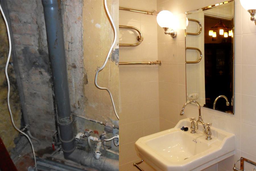 Remonts, Celtniecibas darbi, Vannas istabas remonts. Santehnikas darbi. Duškabīnes montāža. Dvieļu žāvētāja montāža.